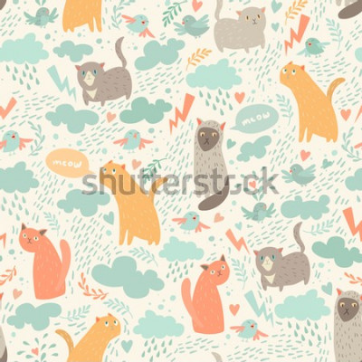 Fototapet Cute cats vector seamless pattern. With hearts, birds, leaf
