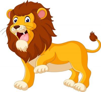 Fototapet Cute lion tecknad av illustration