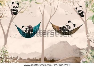 Fototapet cute pandas lying in hammock for child room wallpaper design