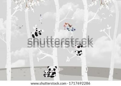 Fototapet Cute pandas playing in the jungle
