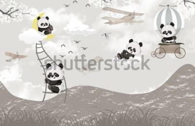 Fototapet cute pandas playing in the sky kids room wallpaper design
