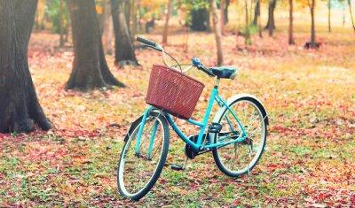 Fototapet Cykel för fritidsresor. (Fokus på korgen) i retro ton