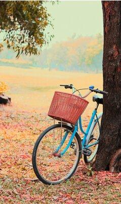 Fototapet Cykel för fritidsresor. (Fokus på korgen) retro ton