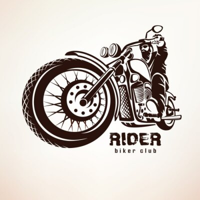 Fototapet cyklist, motorcykel grunge vektor silhuett