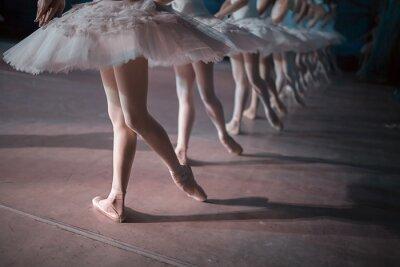 Fototapet Dansare i vitt balettkjol synkroniserad dans