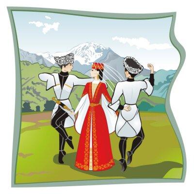 Fototapet Dansen Lezginka, danser av i norra Kaukasus. Två män och en kvinna dansar på gräset ossetiska lezginka. I bakgrunden bergen, vektor