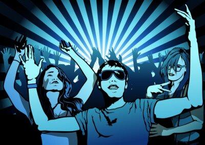 Fototapet Dansfolk på Disco Party - Illustration, Vector