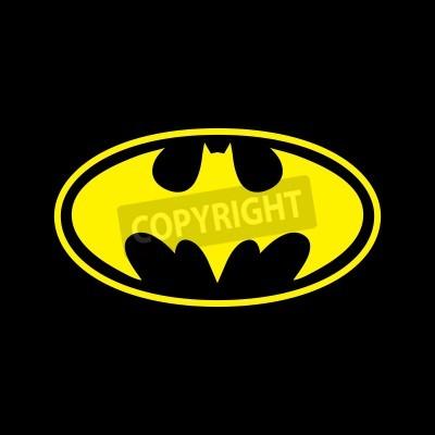 Fototapet DC Comics superhjälte Batman logo gul på svart bakgrund