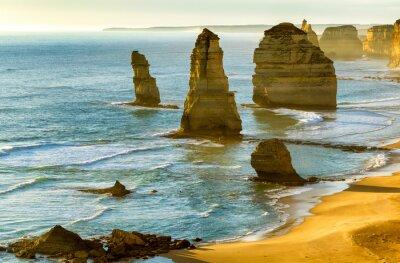 Fototapet De tolv apostlarna vid solnedgången längs Great Ocean Road, Victoria -