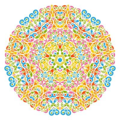 Fototapet Dekoratives Vektor Element - Buntes, Flor und abstraktes Mandala Muster, isoliert auf weißem Hintergrund. Färgrik abstrakt dekorativa mönster - utsmyckad Motiv med designelement - bakgrunder.