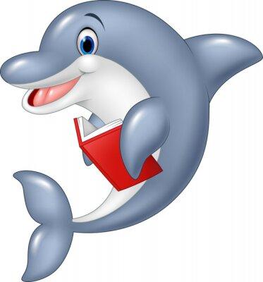 Fototapet delfin tecknad innehav bok isolerad på vit bakgrund
