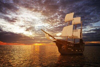 Fototapet Den antika skepp i havet