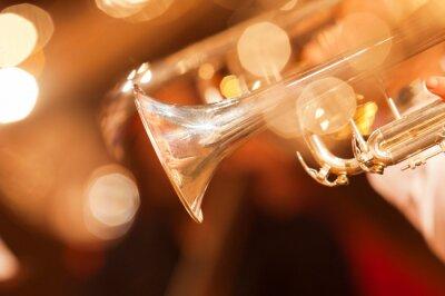 Fototapet Detalj av trumpet närbild i gyllene toner