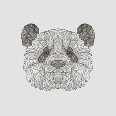 Fototapet Detalj zentangle. Boho handritad stile panda porträtt. Vektor illustration.