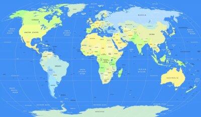 Fototapet Detaljerad vektor politiska World Map