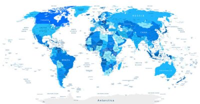 Fototapet Detaljerad World Map Blue