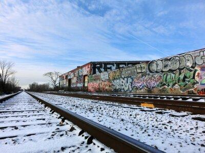 Fototapet Detroit, Michigan järnvägsspår och snö - landskap färgfoto