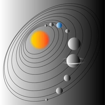 Fototapet Diagram över solsystemet. Illustration av strukturen av solsystemet. Jorden den blå planeten.