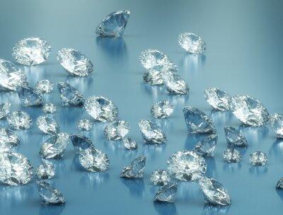Fototapet Diamanter på blå bakgrund