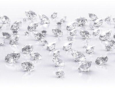 Fototapet diamanter stor grupp på vit bakgrund