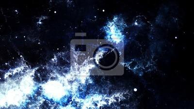 Fototapet Digital abstrakt av en ljus och färgrik nebulosa galax och stjärnor