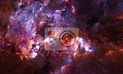 Fototapet Digital abstrakt målning av en galax nebulosa med stjärnor i rymden.
