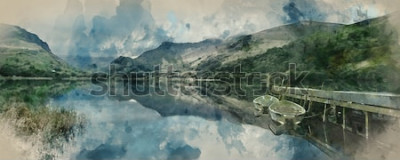 Fototapet Digital akvarellmålning av Panorama-landskap roddbåtar på sjön med brygga mot bergskedjebakgrund