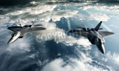 Fototapet Digital bildbehandling av militärflygplan gör en flygning i hög inställning