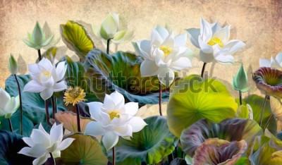 Fototapet Digital illustration av en blommande vita Lotusblommor med gröna blad på en bakgrund av beige väggar på loftet. Bakgrunder och väggmålningar för inredning.