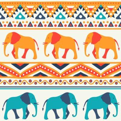 Fototapet Djur sömlösa vektor mönster av elefant
