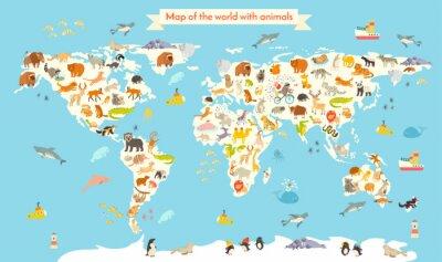 Fototapet Djur världskarta. Färgrik tecknad vektorillustration för barn och barn. Förskola, utbildning, barn, kontinenter, hav, dragit, Earth