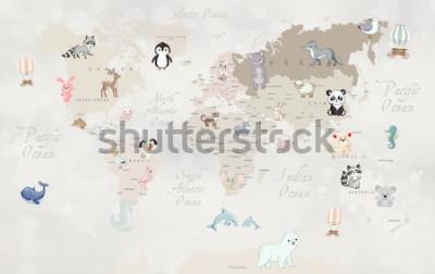 Fototapet Djur världskarta för barn tapet design