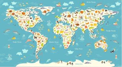 Fototapet Djur världskarta. Vacker gladlynt färgrik vektorillustration för barn och barn. Med inskriptionen av haven och kontinenter. Förskola, baby, kontinenter, hav, dragit, Earth