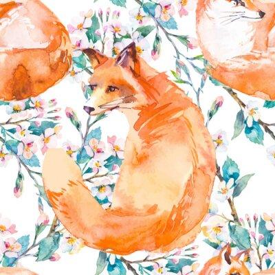 Fototapet Djurliv mönster. Fox och blommande grenar. Vektor.