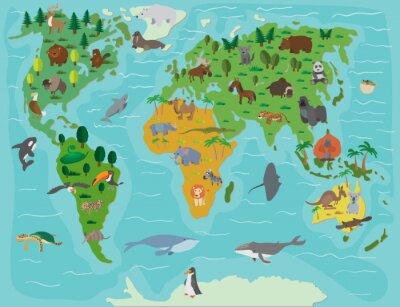 Fototapet Djurvärlden. Rolig tecknad karta