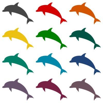 Fototapet Dolphin ikoner som