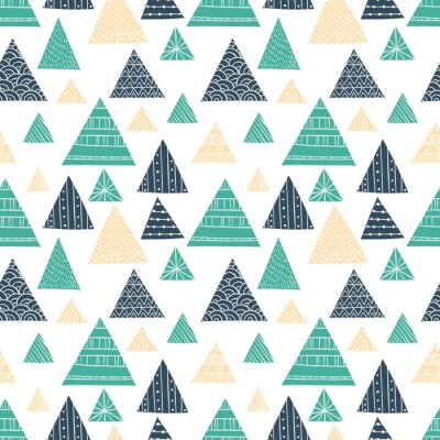 Fototapet Doodle Triangle sömlösa mönster