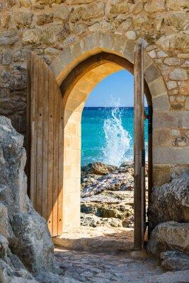 Fototapet dörren öppen hav
