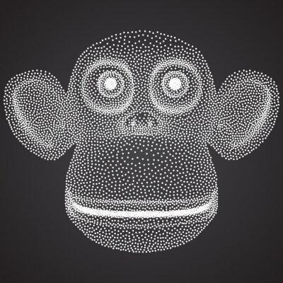 Fototapet Dotwork Halftone vektor Monkey