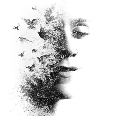 Fototapet Double Exposure portrait of an elegant woman with closed eyes combined with hand made pencil drawing of a flock of birds flying freely resembling disintegrating particles of her being, black