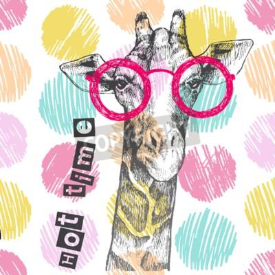 Fototapet Dragit med handgiraff. Ljusa giraffglasögon - hipster. Varm tid. Sommartryck på kläder, skor, T-shirt, raglan. Vektor