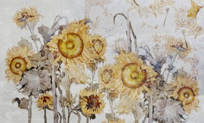 Fototapet Drawing of sunflowers, illustration of flowers. Flowers for wallpaper, photo wallpaper, mural, card, postcard. Beautiful wallpaper design.