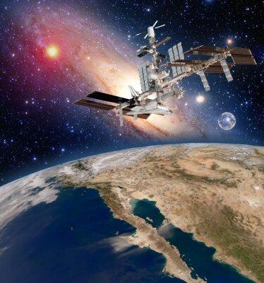 Fototapet Earth satellit astronomi internationella rymdstationen iss meteorologi Vintergatan. Delar av denna bild som tillhandahålls av NASA.