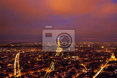 Fototapet Eiffeltornet beskåda från över efter solnedgången