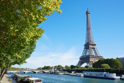 Fototapet Eiffeltornet och Seine floden vy med gröna träd grenar, soligt