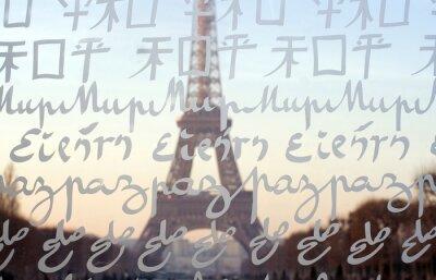 Fototapet Eiffeltornet sett genom väggen för fred