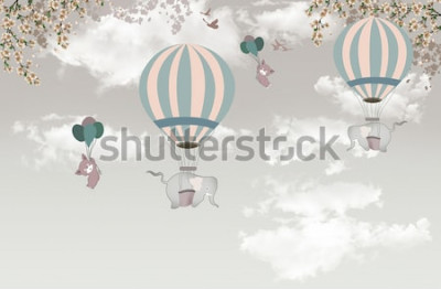 Fototapet Elefant 2 med balonträdet på himmel tapet 3d