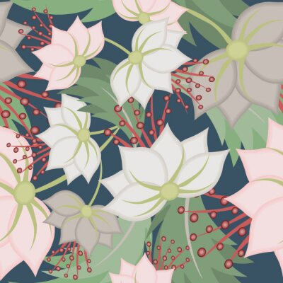 Fototapet Elegant vector seamless pattern with lotus flowers. Vintage floral romantic texture. Abstract botanical ornament, natural wallpapers in Asian style. Repeat background design for tileable print, fabric