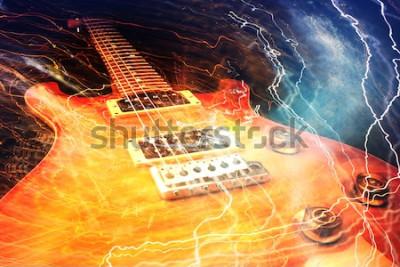 Fototapet Elektrisk gitarr omgiven av blixtarna