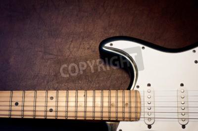 Fototapet Elektrisk gitarrkropp och nacke detaljer på trä bakgrund vintage look